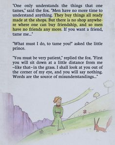 """""""One only understands the things that one tames..."""" - from the book, The Little Prince"""