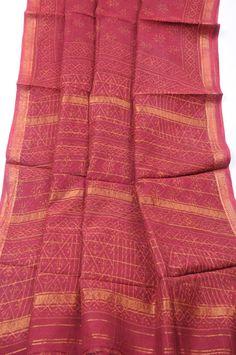 Madhya Pradesh Maheshwari print red orange dabu