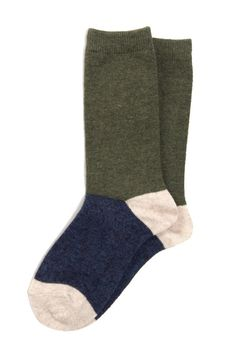 Hansel From Basel Cuddle Crew Sock - Olive Navy Socks, Laid Back Outfits, Support Socks, Foot Warmers, Sheer Socks, Cool Style, My Style, Knitting Accessories, Cool Socks