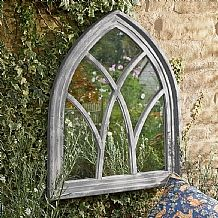 Medieval Arch Window Mirror £59.99 Gothic architecture is characterized by the strong forms of pointed arches, reflected in this handsome wooden mirror with white wash effect.