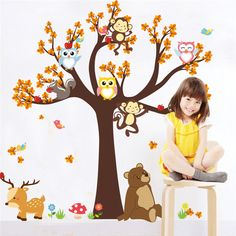 Forest Tree Branch leaf Animal Cartoon Owl Monkey Bear Deer Wall Stickers For Kids Rooms Boys Girls Children Bedroom Home Decor-in Wall Stickers from Home & Garden on Aliexpress.com | Alibaba Group