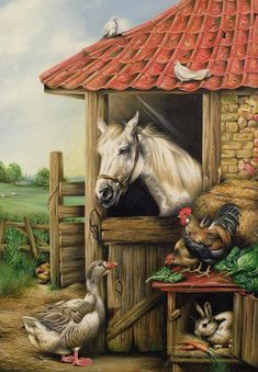 Farmyard Friends Painting by Carl Donner - Farmyard Friends Fine Art Prints and Posters for Sale