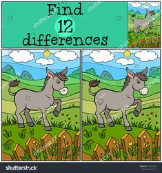 """Buy the royalty-free Stock vector """"Children games: Find differences. Cute donkey stands and smiles"""" online ✓ All rights included ✓ High resolution vecto. Find The Difference Pictures, Cute Donkey, Children Games, Brain Teaser Puzzles, Hidden Pictures, Educational Games For Kids, Picture Puzzles, Bible Crafts, Brain Teasers"""