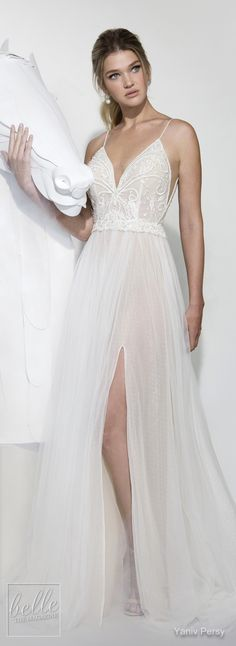 Yaniv Persy Wedding Dresses Spring 2019 - Lavish Bridal Collection. Lace A -line wedding dress with v neckline, tulle skirt and spaghetti straps.| Fit and flare sexy bridal gown #weddingdress#weddingdresses#bridalgown#bridal#bridalgowns#weddinggown#bridetobe#weddings#bride#weddinginspiration#weddingideas#bridalcollection#bridaldress#fashion#dressSee more gorgeous bridal gowns by clicking on the photo