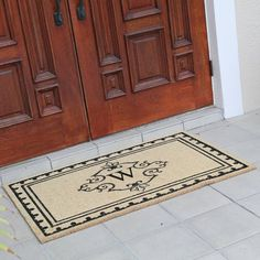 Fleur De Lis Living Bradford Anti Shred Treated Non-Skid Entry Monogrammed Double Doormat Letter : W