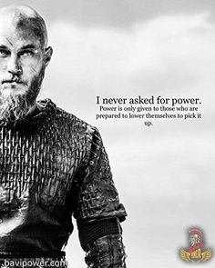 "Travis Fimmel as Ragnar Lothbrok in Vikings. ""What sensible man would not be afraid of a farmer who made himself a king? Vikings Show, Vikings Tv Series, Vikings Season, Ragnar Quotes, Ragnar Lothbrok Quotes, Wallpaper Vikings, Viking Quotes, Viking Sayings, King Ragnar"