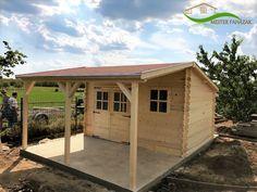 Boronafalas kerti faház 12 m2 faház + 10 m2 fedett terasz 28 mm-es falvastagság Shed, Outdoor Structures, Home, Haus, Homes, Houses, At Home, Sheds, Tool Storage