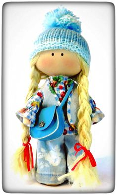 Tilda handmade fabric doll with curly golden hair in jeans denim vest sky blue leather bag boots Textile soft Waldorf doll Gift for her by PticaDolls on Etsy