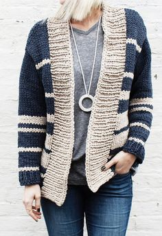 Free Knitting Pattern for Oxford Boyfriend Cardigan - This easy casual cardigan by Alexandra Tavel for Two of Wands knits up quickly in super bulky yarn. S/M and L/XL