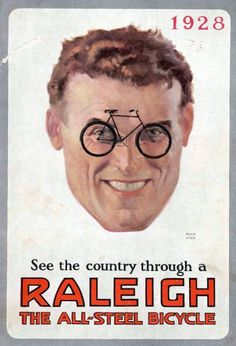 1928, Raleigh, advertising, bicycle, poster