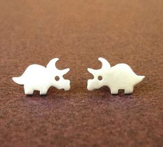 Dinosaur Earrings Dino Studs Triceratops Earrings Sterling Silver Teen Earrings Kids Jewelry  Post Earrings christmas Jewelry teen gift mom by zoozjewelry on Etsy https://www.etsy.com/listing/150965732/dinosaur-earrings-dino-studs-triceratops