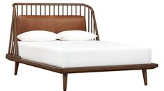 Shop jarvis bed with leather pad.   Both sculptural and comfortable, master bed designed by James Harrison is a dream from any angle.