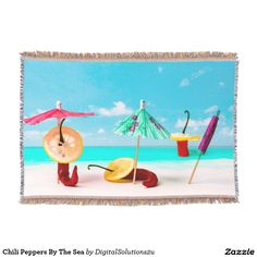 Chili Peppers By The Sea Throw Blanket