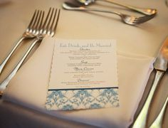 blue wedding menu card. love!