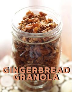 Enjoy the warm spices of the season in this gingerbread granola.  Filled with nuts, oats, molasses and maple syrup, it's perfectly spiced  and great for breakfast or to snack on. Brunch Recipes, My Recipes, Breakfast Recipes, Dessert Recipes, Favorite Recipes, Kitchen Dishes, Food Dishes, Gingerbread Granola Recipe, Desert Recipes