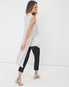 Sleeveless Stripe Duster Sweater