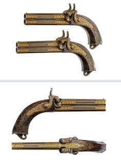 Pair of French double barrel percussion pistols with gold inlaid Damascened barrels.  Crafted by Lepage-Moutier, Arquebusier du roi, dated 1847.