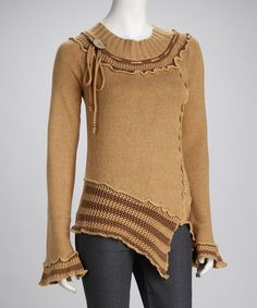 Take a look at this Beige Crocheted Asymmetrical Tunic by Funky People on #zulily today!