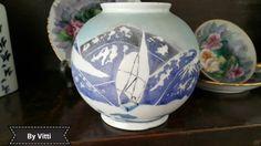 Vaso de porcelana, pintado à mão por Vitti