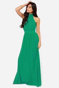 Green Dress - Maxi Dress - Bridesmaid Dress - Gown - $88.00 I think you would look amazing in this.