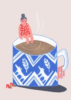 """Yesterday I made a GIF. Lovely to see one of my illustrations come to life. """"Morning Coffee""""It's how i feel in the morning, the size off the cup is about right…"""