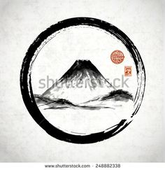 Fuji mountain in black enso circle hand-drawn with ink in traditional Japanese style sumi-e on rice paper. Sealed with decorative stylized stamps.