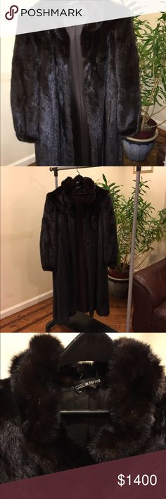 Mink Vintage Coat • Authentic Absolutely showstopper piece! Authentic mink fur, vintage in amazing condition. Has hook clasps, missing last one. Made in Greece. Has name of person embroidered inside. Doesn't say size. Appears to be size Large/ XL. Jackets & Coats