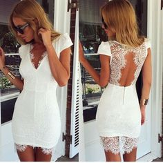 White Lace V Neck Bodycon Dress With Open Back www.ustrendy.com #UsTrendy
