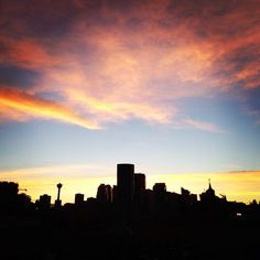"""""""Sunset over the city from my new home in Bridgeland! Nice view...Can't complain! #yyc #sunset #calgary #bridgeland #capturecalgary""""  Instagram photo by allypeddie"""