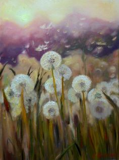 ARTFINDER: dandelions in a field by Natalia Tsvetkova - oil on canvas 40x55 cm unframed the picture painted in warm earth tones, with impasto technique. The picture will look beautiful in your interior. If you ...