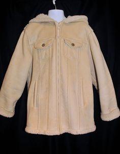 GAP Girls Size 10 Suede Coat Jacket Faux Searling Lined Hood Zip Front Washable  #GAP #BasicCoat #EverydayHoliday