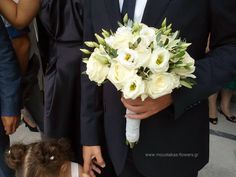 Moustakas flowers-bridal bouquet with lisianthus,roses and olive leaves #bridalbouquet #lisianthus #oliveleaves #roses #weddingbouquet #summerwedding