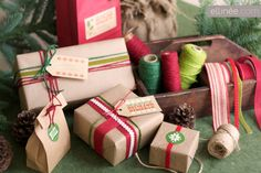 Kraft paper wrapping and free printables.