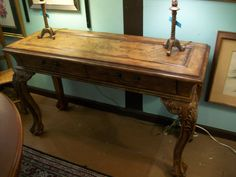 Leather top sofa table with two drawers