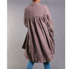 Free Style Pleated Linen Long Jacekt/ Cape/ Heather by Ramies