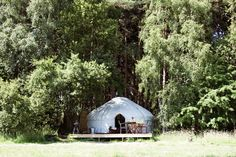 """Though the deck below may be a little """"permanent"""" for LARPing, I always like yurts and gers. I notice this one does not have a rigid door frame; unusual but still looks lovely. Canvas Tent, Cozy Nook, Larp, Lodges, Glamping, Wilderness, About Uk, Relax, Yurts"""