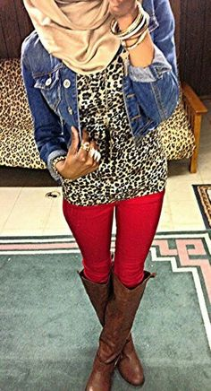 cute cheetah print shirt with jean jacket and red pants with brown boots