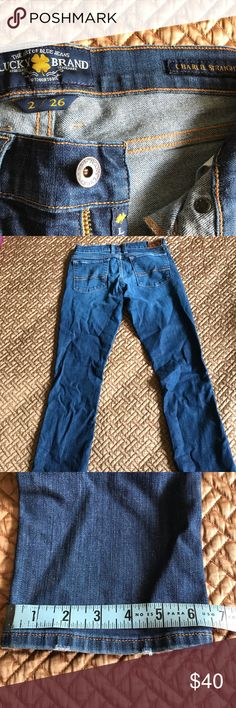 """Charlie Straight Leg Lucky 🍀 Brand Jeans Charlie's are low rise sexy jeans. They have a little stretch for comfort of ease and movement. Gently used but in mint condition. Regular length / 32.5""""inseam. A nice weathered wash. See pics for complete measurements. From a smoke free and pet free home. Lucky Brand Jeans Straight Leg"""