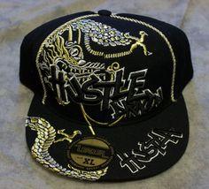 Hustla Hustle Dragon Fitted Hat Baseball Cap Black Gold Silver Leader XL Bling #Leader #BaseballCap