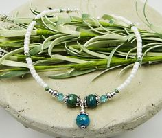 Anklet Ankle Bracelet with dangle: 3 turquoise blue green Agate semi precious donut stones with aqua blue Swarovski crystals, and white pearl Czech glass seed beads. All metal beads are lead/cadmium-free pewter; clasp and other finishing-off pieces are silver-plated.    Great for special occasions like beach weddings, summer vacations, cruises. Goes with everything. Very wearable. Spring. Summer. Casual. Simple. Elegant. Minimal. Looks great with sun dresses or long flowing skirts. Or we...