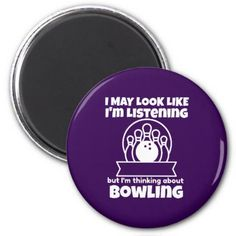 Thinking About Bowling Funny Magnet - party gifts gift ideas diy customize