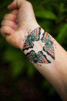 "Résultat de recherche d'images pour ""3 butterflies old school tattoo meaning wrist"""