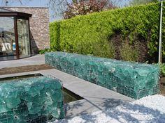 Gabion Wall, Slag Glass Maureen Gilmer Morongo Valley, CA