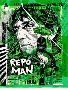 """Repo Man"" by Tyler Stout. 18″ x 24″ Screenprint. Ed of 510 N."
