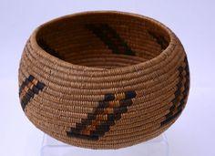 Vintage Mission Indian Basketry bowl with strong vertical motif c. 1910  | eBay