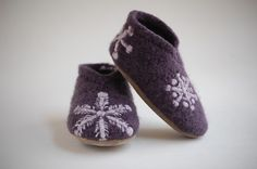 Upcycled felted sweater slippers. Gorgeous. Think stencil and bleach pen