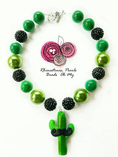 Cactus Necklace, Cactus Jewelry, Bubble Gum Beads, Mustache Jewelry, Gift for Kids, Green Necklace, Girls Jewelry, Kids Necklace, Western