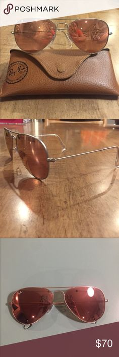 db9b828eed Authentic Ray Ban Aviators Matte silver/ rose gold mirrored 55 mm Like new!