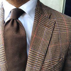 Brown glen plaid jacket, white shirt, brown tie
