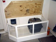 Wood project 007 | Flickr - Photo Sharing! Could put this into garage by dryer wall and use dog crate to hold litterbox.